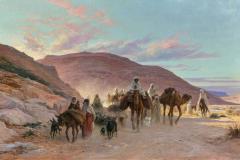 Eugène Girardet - Karavana v puščavi