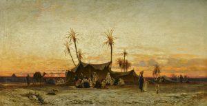 Maks Viktor | 1001 noč | Hermann Corrodi - Arabski tabor ob sončnem zahodu (19. stol.)